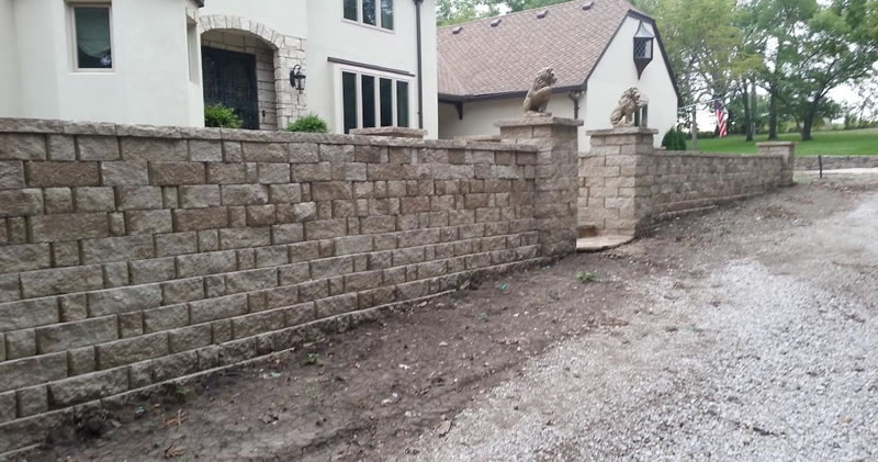 Retaining Wall Construction In Front Of House