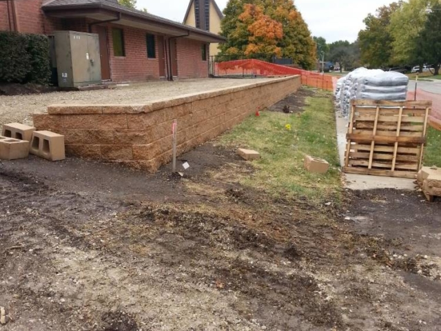 Single Course Block Retaining Wall