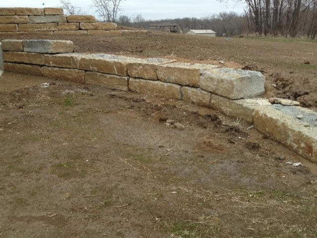 Boulder Slab Retaining Wall
